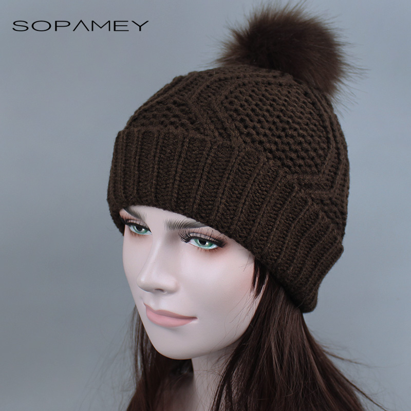 Autumn winter beanies hat Woman knitted Skullies casual cap with Faux raccoon fox fur pompom solid colors ski gorros cap 2017 knitted winter autumn female hat plaid lace beanie cap woman chunky baggy cap skull gorros de lana mujer femme beanies cap