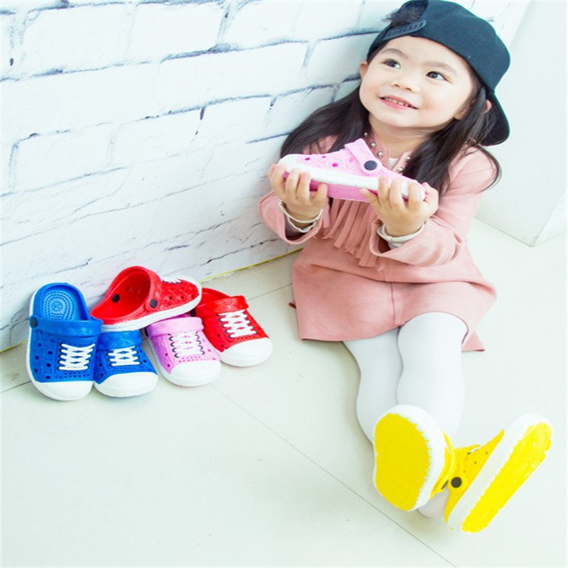 PVC Bath Beach Casual Shoes Children Shoes Kids Sandals Baby Boys Girls Slippers Sandals Rainbow Solid 4 Colors Patch Shoes