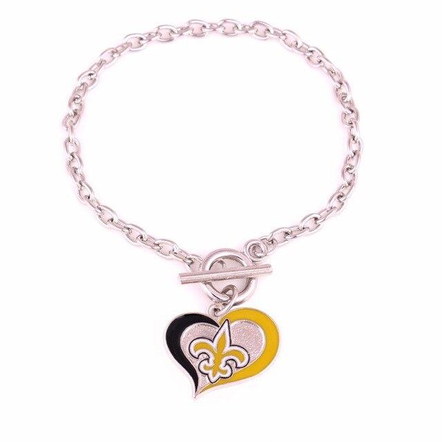 Drop Shipping New Styles Enamel Single Sided Orleans Saints Football Team Logo Sports Swirl Heart Toggle Charm Ot Bracelets In