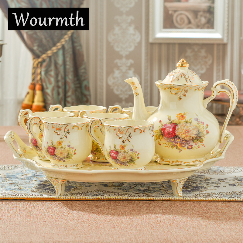 Wourmth 15 PCS Porcelain Coffee Set European Style Tea Set Ceramic British Bone China Teapot And Tea Cups With Luxury Gift