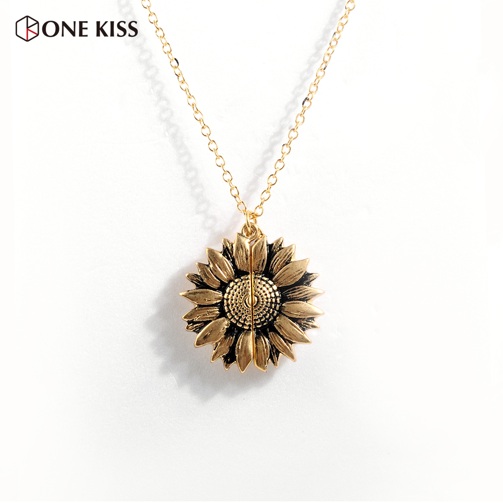 Vintage Sunflower Locket  Pendant Necklace Bohemia Female Gold Silver Open Engrave Letter Necklaces Lover Gift Dropshipping