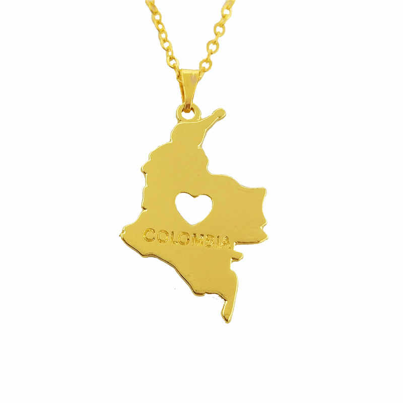 drop shipping Colombia Map pendant Necklace women jewelry Colombians choker necklace Colombia jewelery gift gold silver color