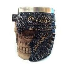 3D Stainless Steel Axe Skull Knight Handgrip Head Mugs Resin Viking Skull Warrior Geek Coffee Beer Water Drinking Mug Cup
