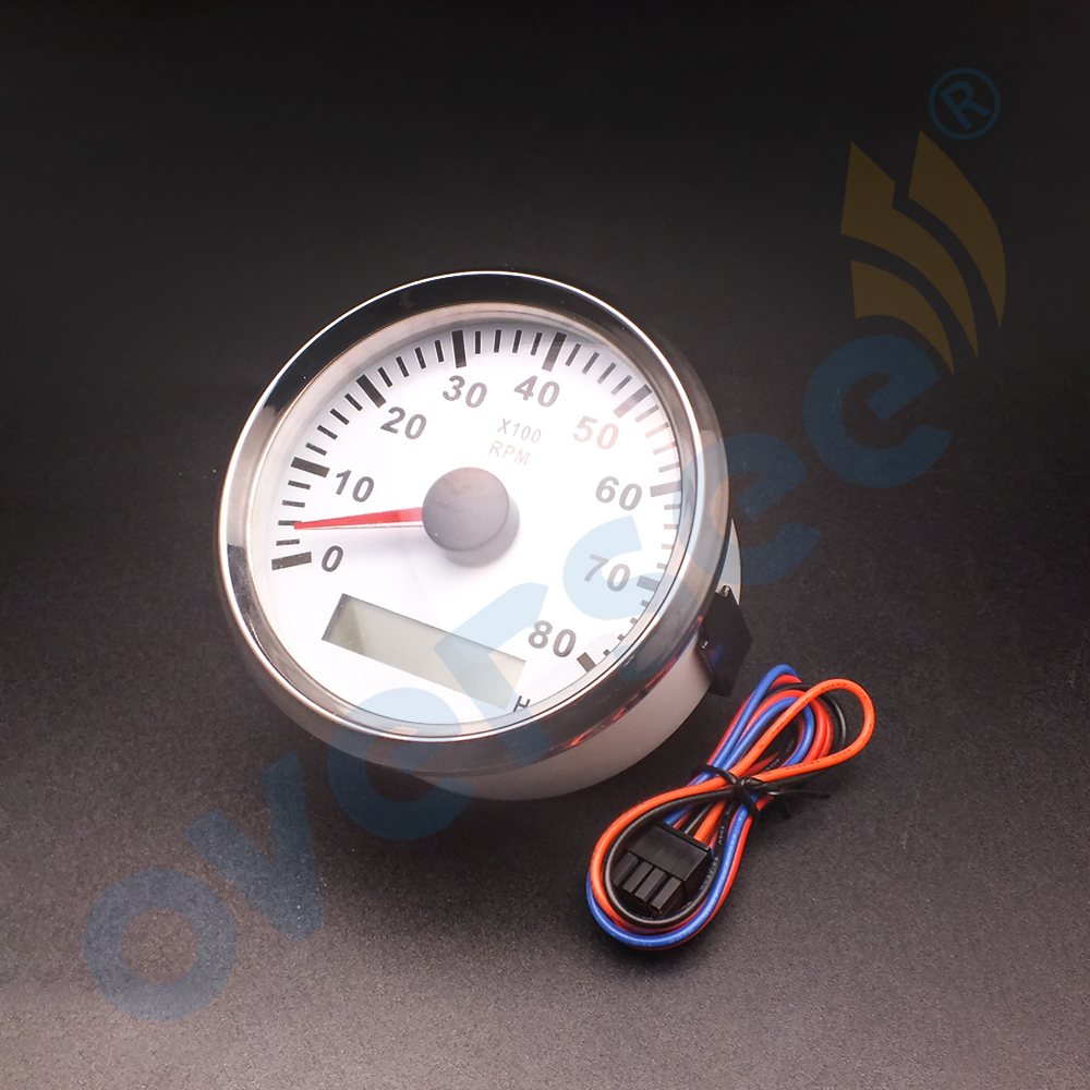 Water Proof Tachometer With LCD Hour Meter with Light inside For Outboard Engine White Color 8000 RPM 2