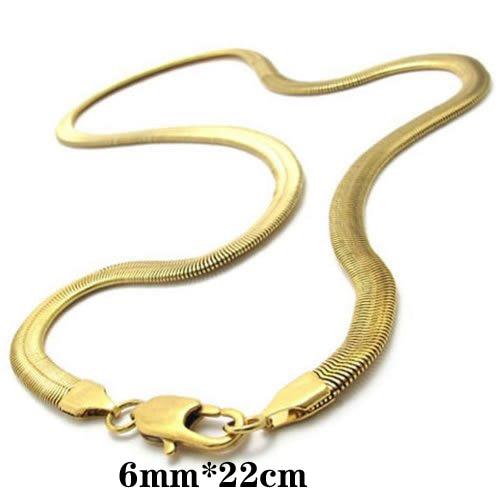 f87b6a130 الذهب اللون القلائد المقاوم للصدأ قلادة الرجل المجوهرات القلائد ثعبان سلسلة  يشعر المناسب حجم طول 55.9 سنتيمتر العرض 0.6 سنتيمتر
