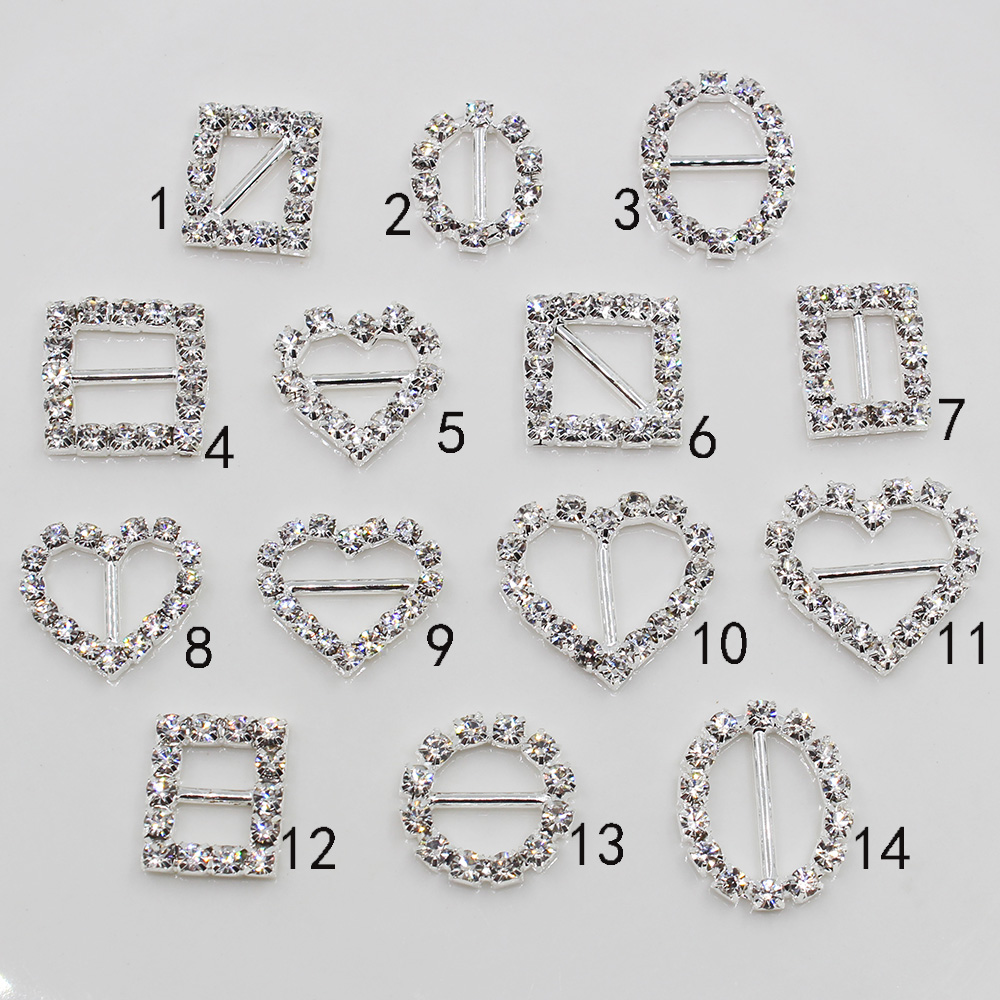 Shiny silver 500Pc Mixed size rhinestone Buckles invitation card Wedding Ribbon Slider DIY Hair flower center
