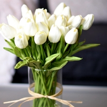 10 sztuk tulipan sztuczny kwiat prawdziwy dotyk sztuczny bukiet sztuczny kwiat na dekoracje ślubne w kształcie kwiatów wystrój domu Garen tanie tanio ZQNYCY FLTIP Sztuczne Kwiaty Bukiet kwiatów Ślub