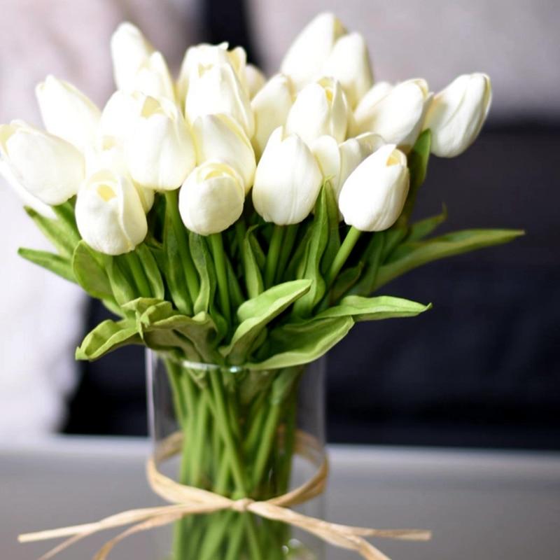 10PCS Tulip Kunstbloem Real Touch Kunstmatige Bouquet Valse Bloem voor Bruiloft Decoratie Bloemen Thuis Garen Decor