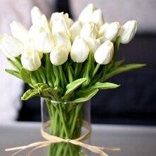 10PCS טוליפ פרחים מלאכותיים נדל מגע מלאכותי זר מזויף פרח לחתונה קישוט פרחי בית גארן דקור