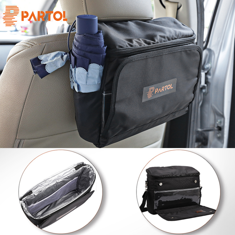 Partol Universal Black Foldable Multi-Fuction Car Storage Bag Cooler Bag Multi Pocket Organizer Box for Backseat Stowing Tidying