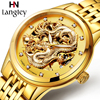 LANGLEY Men S Watch Top Brand Automatic Stainless Steel Gold Skeleton Mechanical Watch Male Hollow Out