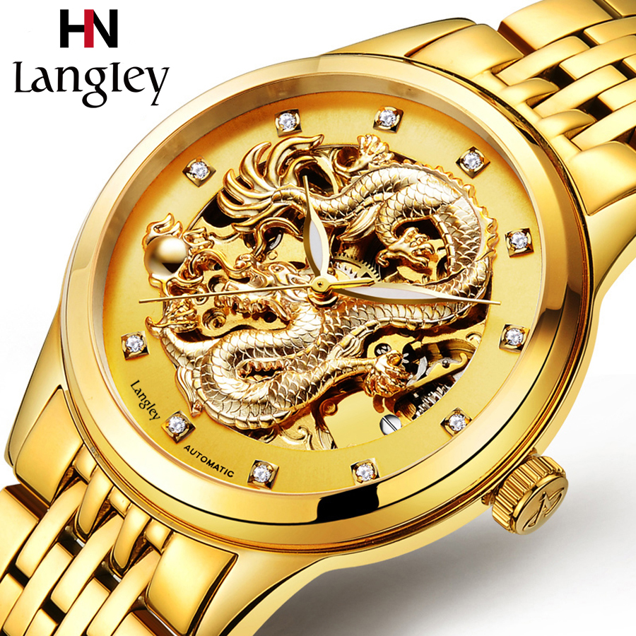LANGLEY Men's Watch Top Brand Automatic Stainless Steel Gold Skeleton Mechanical Watch Male Hollow Out Clock Montre Male Relogio gold sexy gold thread embroidery hollow out lace crop top