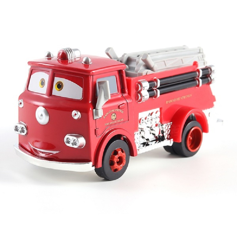 Cars Disney Pixar Cars Red Firetruck Rescue Car Model 1:55 Fire Engine Metal Diecast Car Cartoon Movie Disney Cars2 And Cars3