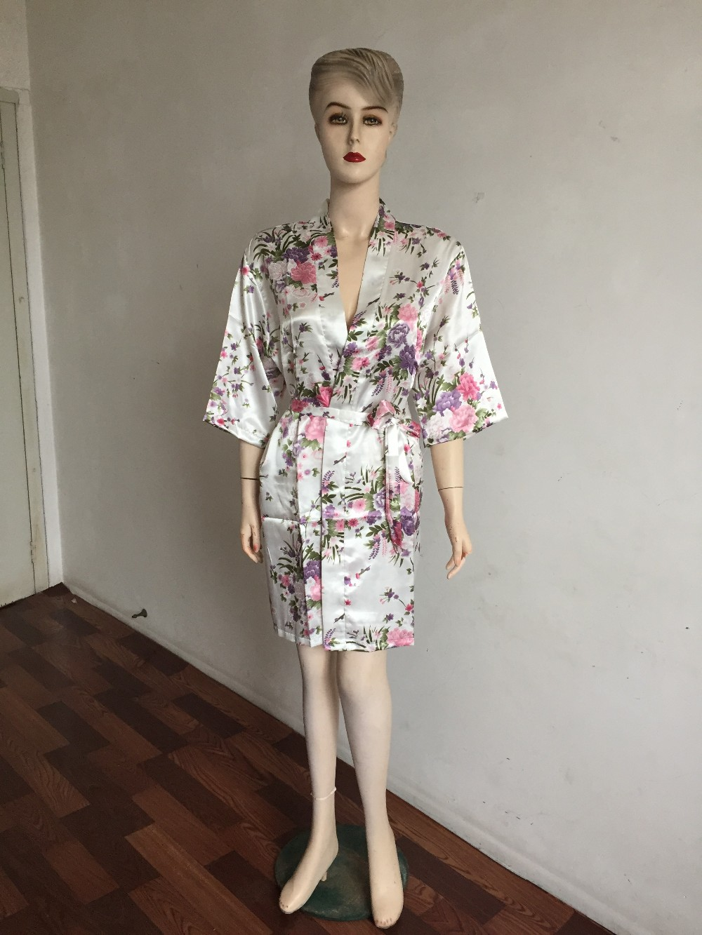 Flower Print Satin Kimono Night Robe - Fashion Trendy Shop