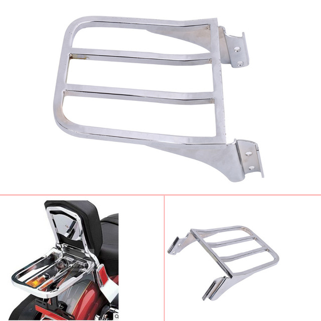 Chrome Motorcycle Sport Sissy Bar Backrest Rear Luggage Rack For Harley HD Sportster XL 04-17/ Dyna 06-17/ Softail 84-05 #58207