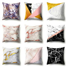 Marble Texture Geometric Printed Polyester Cushion Cover Decorative Office Home Throw Pillow Cojines Kussenhoes Almofada
