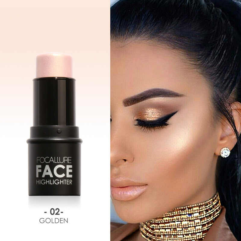 FOCALLURE 4 Colors Cream Highlighter Stick Brighten Face Makeup Cosmetic Easy To Wear Long-lasting Bronzer Pen