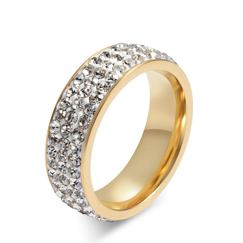 best seller black shiny cz stone gold color stainless steel 316l unisex crystal ring for him - Wedding Ring For Him