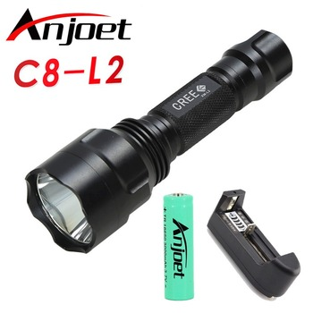 1mode C8 L2 powerful led flashlight 18650 battery Home outdoor camping Riding Night Hiking Prerequisites waterproof flashlights image