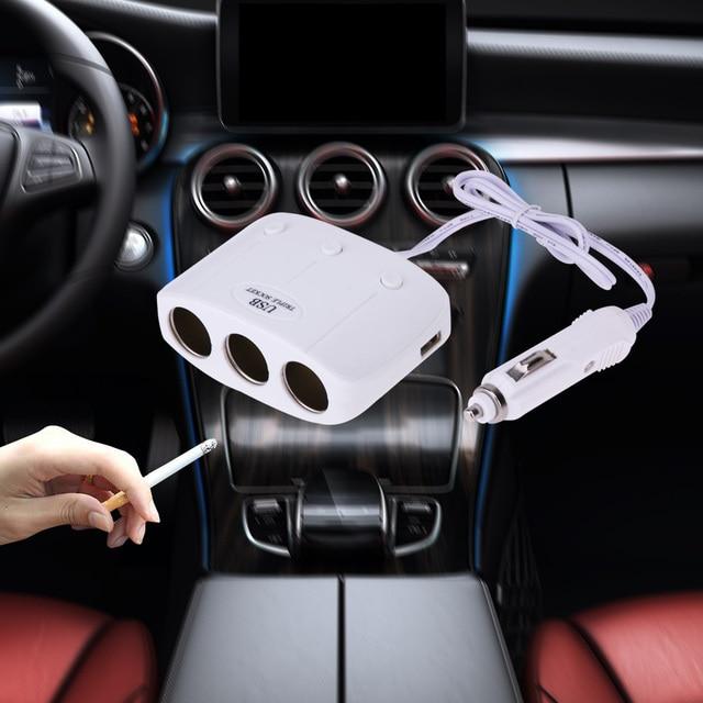 120W 3 Ways Auto Socket Splitter Car Cigarette Lighter Socket Splitter 12V/24V DC USB Port Car Charger Power Adapter 2 colors