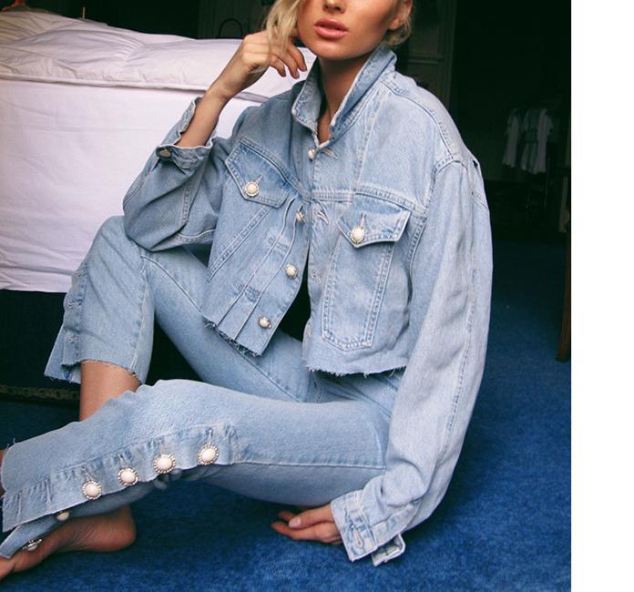 De Perle Coat Split Taille Pantalon 2018 longueur pant Turn down Ensemble Manteau Nouvelle Collier Denim Court Mis Mode Getsringwomen Pièces Sexy Veau Deux Haute tvAwBqxIF