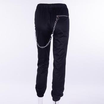 Gothic harajuku zipper streetwear women casual harem pants with chain solid black pant cool fashion hip hop long trousers capris 6