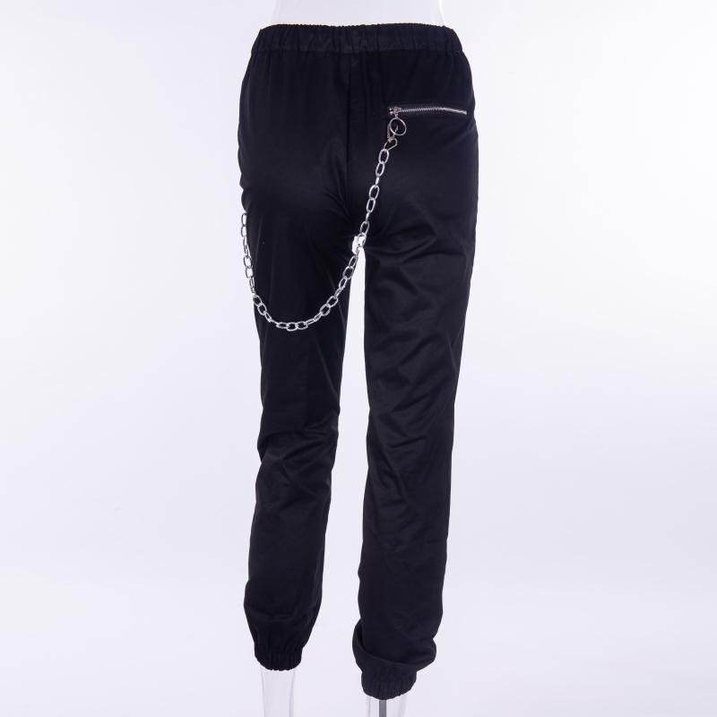 Gothic harajuku zipper streetwear women casual harem pants with chain solid black pant cool fashion hip hop long trousers capris in Pants amp Capris from Women 39 s Clothing