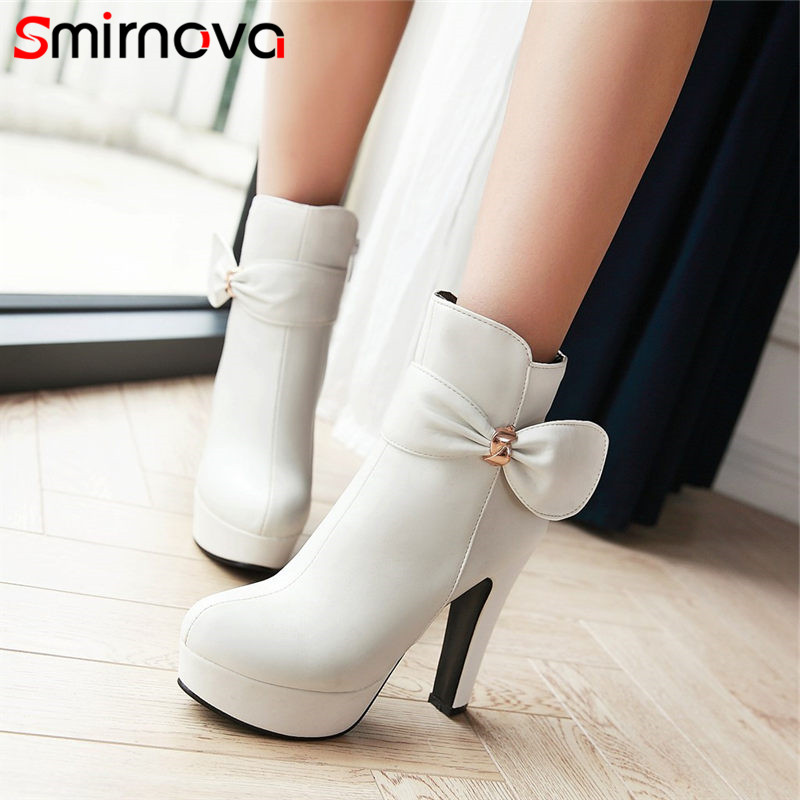 Smirnova 2018 platform boots sweet butterfly knot fashion boots super high thin heels round toe handmade ankle boots
