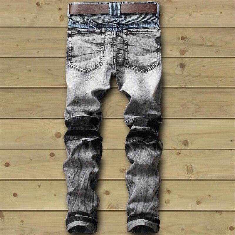 Nuevos hombres Biker Jeans Pantalón Multil Pocket Slim Fit plisado - Ropa de hombre - foto 2