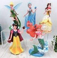 5pcs Disney about 10cm Princess Frozen Elsa Anime Plastic Toy Action Finger Doll Model Cake Decoration for Kids Birthday Gift