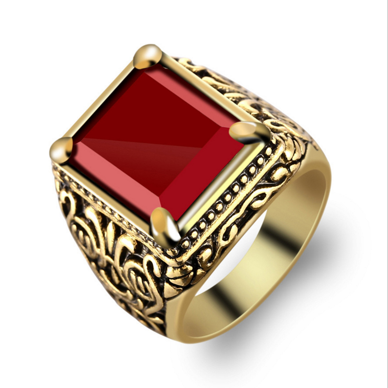 Fashion Dubai Gold Color Ring Men Paty Wedding Accessories Black Punk Ring Vintage Jewelry Wholesale 2018 New