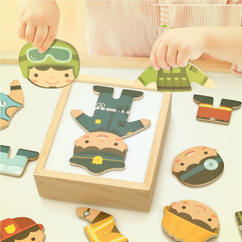 Montessori Materials Sensorial Boy Cloth Changing Wooden Dressing Up Puzzle Early Learning Educational Toys For Kids