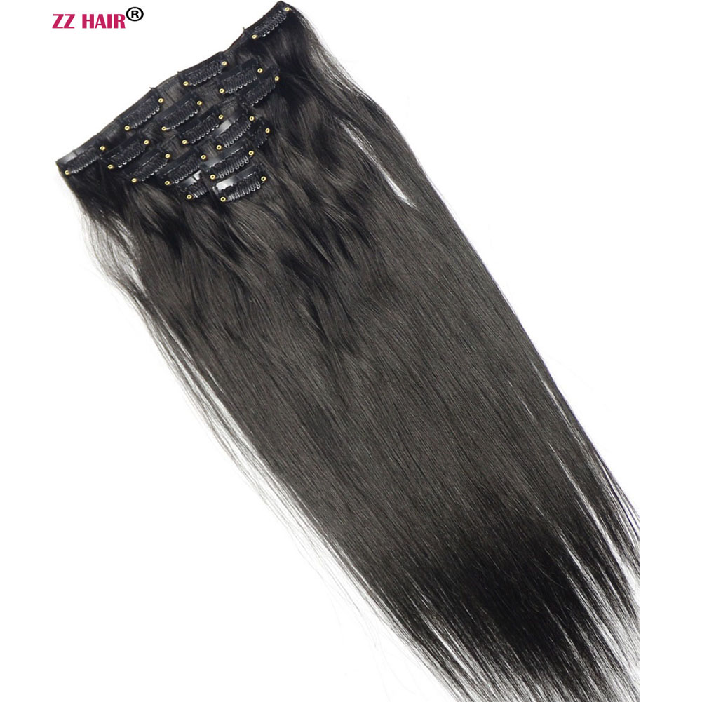 ZZHAIR Clips 100%Human-Hair-Extensions Straight In 70g 16-18-Machine-Made Full-Head-Set