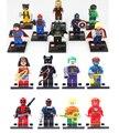 16 unids Super Heroes Iron Man Hulk Batman Minifig Figura Deadpool Superhéroes Marvel Building Blocks Juguetes Compatible legoINGlys