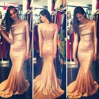 Gold Sequins Long Sleeves Mermaid Evening Dresses Arabic Saudi Arabic Prom Gowns