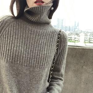 Image 2 - Camisola feminina inverno & primavera 100% cashmere e lã de malha jumpers pulôver feminino venda quente gola alta 3 cores grosso roupas topos
