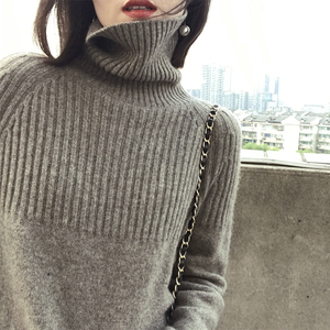 Image 2 - Women Sweater Winter&Spring 100%Cashmere and Wool Knitted Jumpers Female Pullover Hot Sale Turtleneck 3Colors Thick Clothes Tops