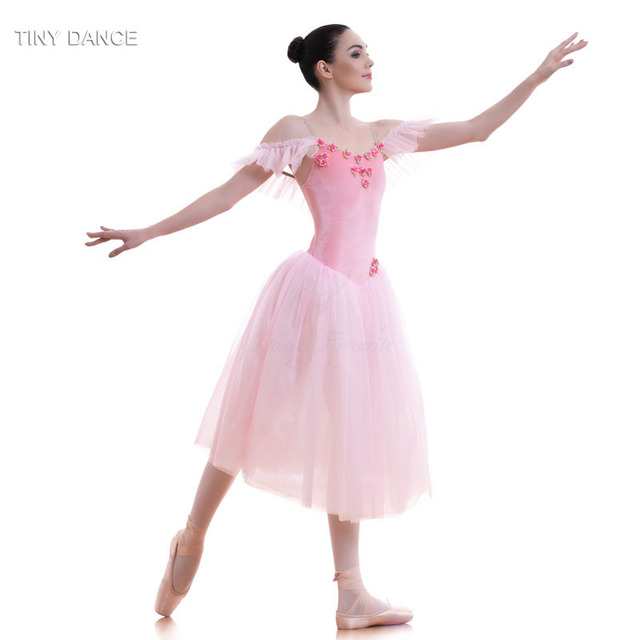 wholesale dealer 6acca 8956c Pale Pink/White Soft Tulle Long Ballet Tutu Dress Romantic Tutus Ballerina  Dance Costume for Child and Adult 18582