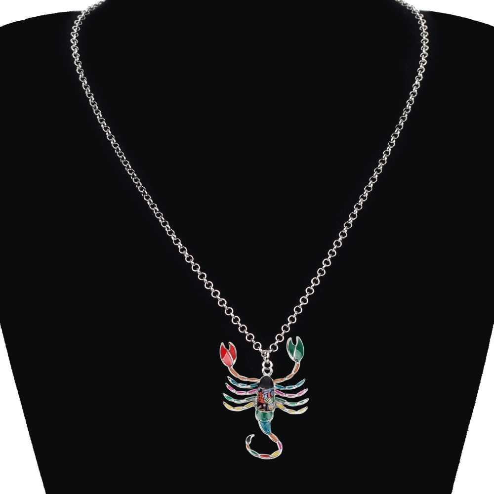 Bonsny Maxi déclaration en alliage de métal chanceux zodiaque scorpion collier chaîne Choker pendentif mode nouveau 2018 émail bijoux pour les femmes