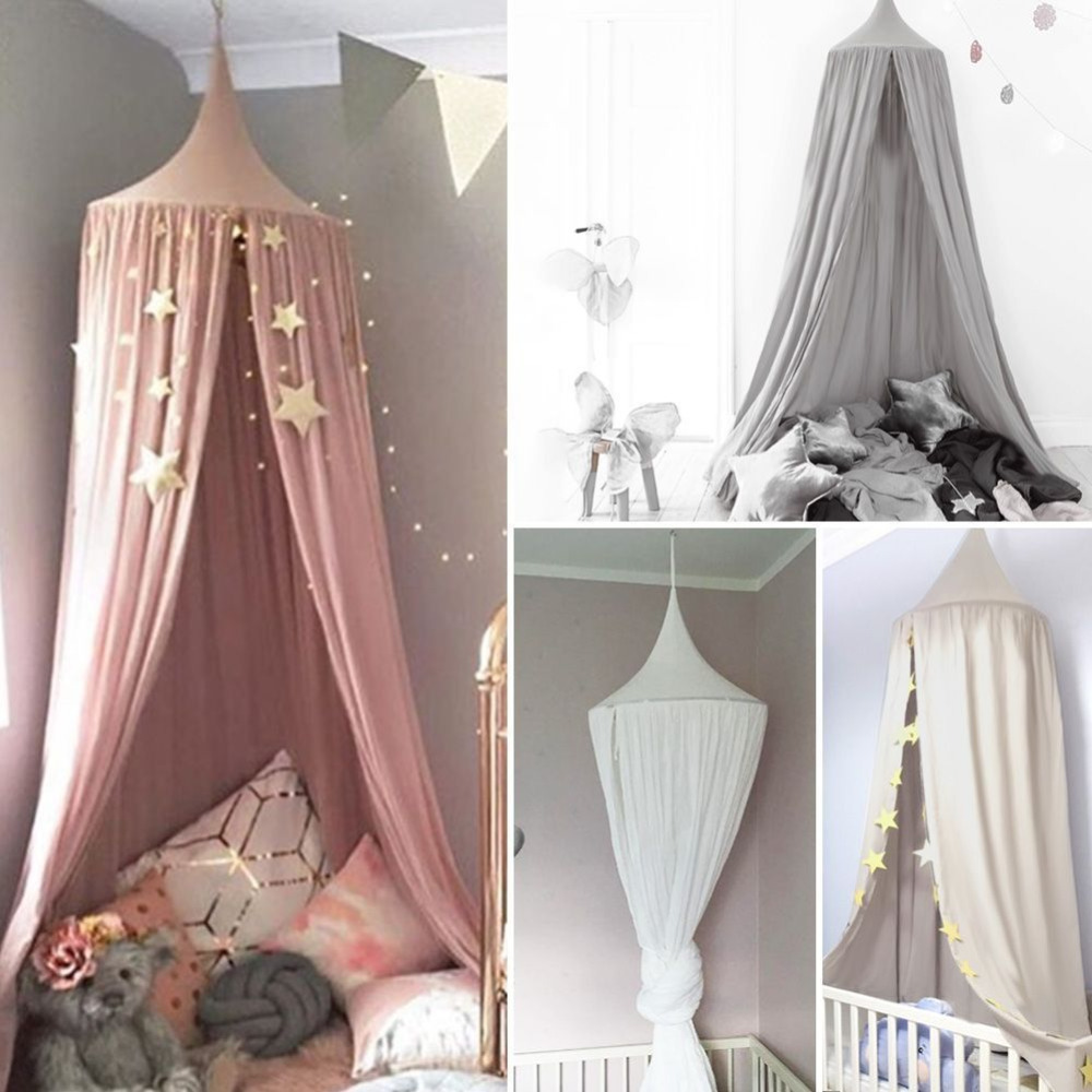 White Grey Pink Boys Girls Kids Princess Canopy Bed Valance Kids Room Decoration Baby Bed Round Crib Netting Tent Curtains nordic white lace girls princess dome canopy bed curtains round kids play tent room decoration baby bed hanging crib netting