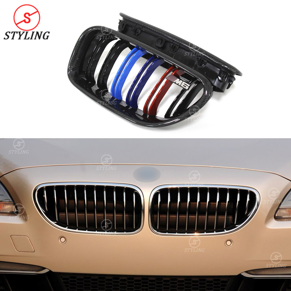 6 series Carbon Fiber Grill For BMW F06 F12 F13 M6 Front Bumper lip Front Grille