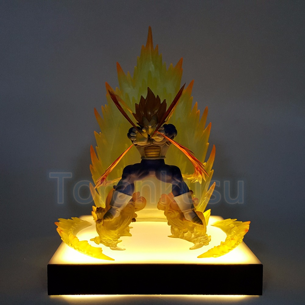Dragon Ball Z Action Figure Vegeta Super Saiyan Led Lighting Base DIY Display Model Toy Dragon Ball  Kamehameha Toy DIY136