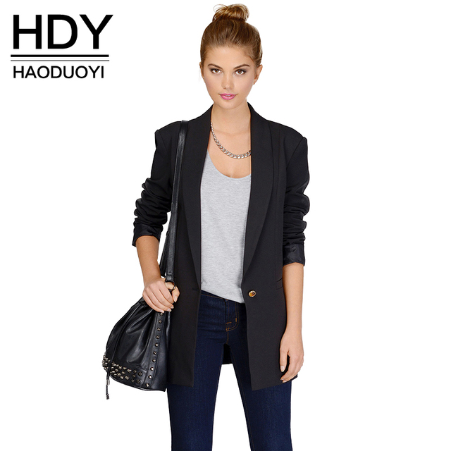 HDY Haoduoyi 2017 Autumn Fahion Women 3 Colors Double Pockets Long Sleeve OL Lapel Neck Longline Coat Single Button Trench Coat