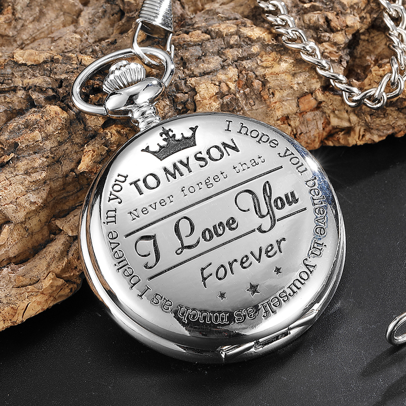 To My Son Best Gifts I Love You Son Girls Boys Present Silver Steampunk Pocket Watch With FOB Chain For Necklace Pendant Watches 2017 retro freemason pocket watch sets with free masonic necklace pendant quartz fob watches chain best gifts set for men women