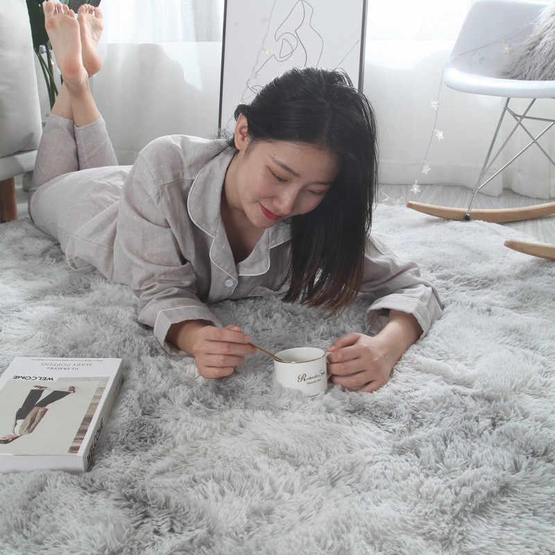 Европейский модный ковер для спальни с длинными волосами, прикроватный коврик с эркером, моющийся, индивидуальное одеяло, градиентный цвет, ковер для гостиной