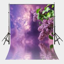 150x220cm Violet Lilac Flower Backdrop Thick Clouds Blue Sky Photography Background Pantone 18-3838