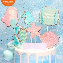 1 Set Beautiful Happy Birthday Mermaid Theme Cake Topper Shell Sea Star Decoration Girls Fairy Party Pops Supplies