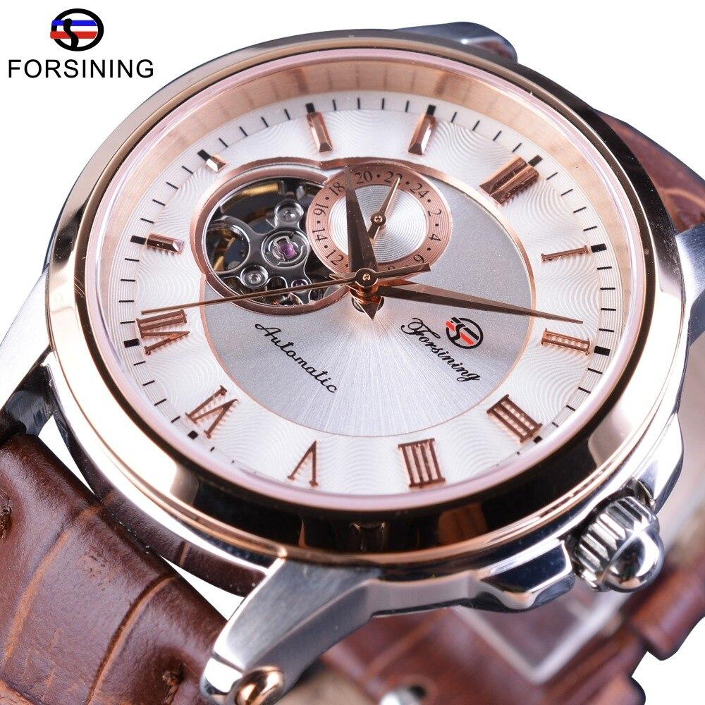 Forsining Japan Luxury Movement Skeleton Design Waterproof Brown Genuine Leather Mens Automatic Wrist Watches Top Brand Luxury