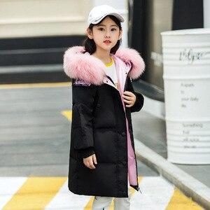 Image 3 - Модная одежда для девочек до 30 градусов, зима 2019, куртки на утином пуху, детские пальто, теплая плотная одежда, детская верхняя одежда для холодной погоды