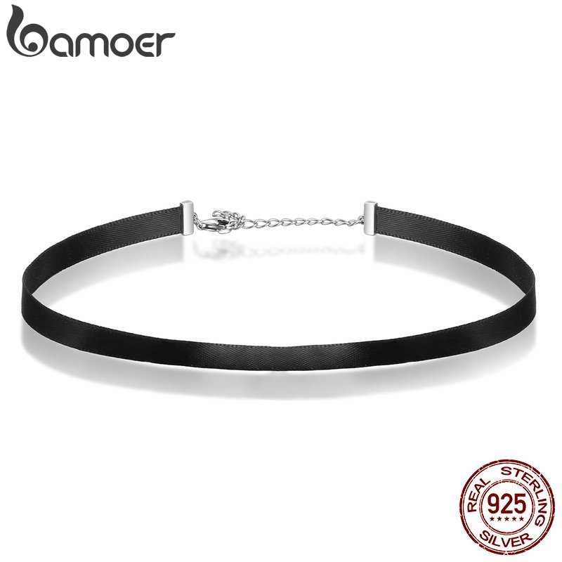 BAMOER 925 Sterling Silver & Black Braid Choker Necklace For Women Chocker Colar Jewelry Accessories 31CM+7CM SCA011